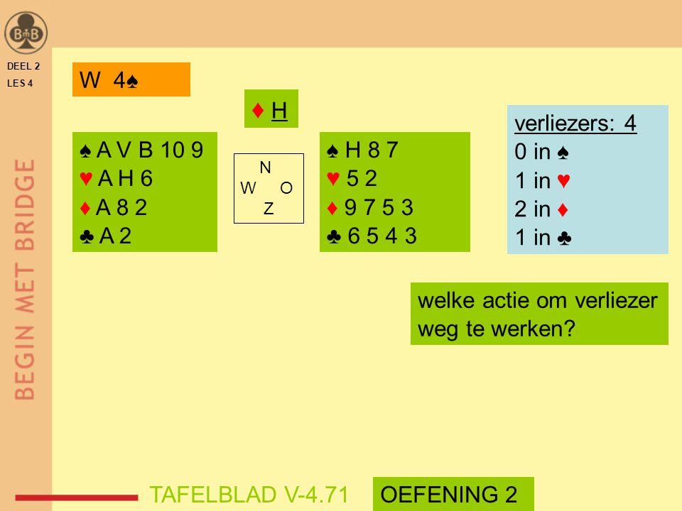 ♦ H W 4♠ verliezers: 4 0 in ♠ 1 in ♥ 2 in ♦ 1 in ♣ ♠ A V B 10 9