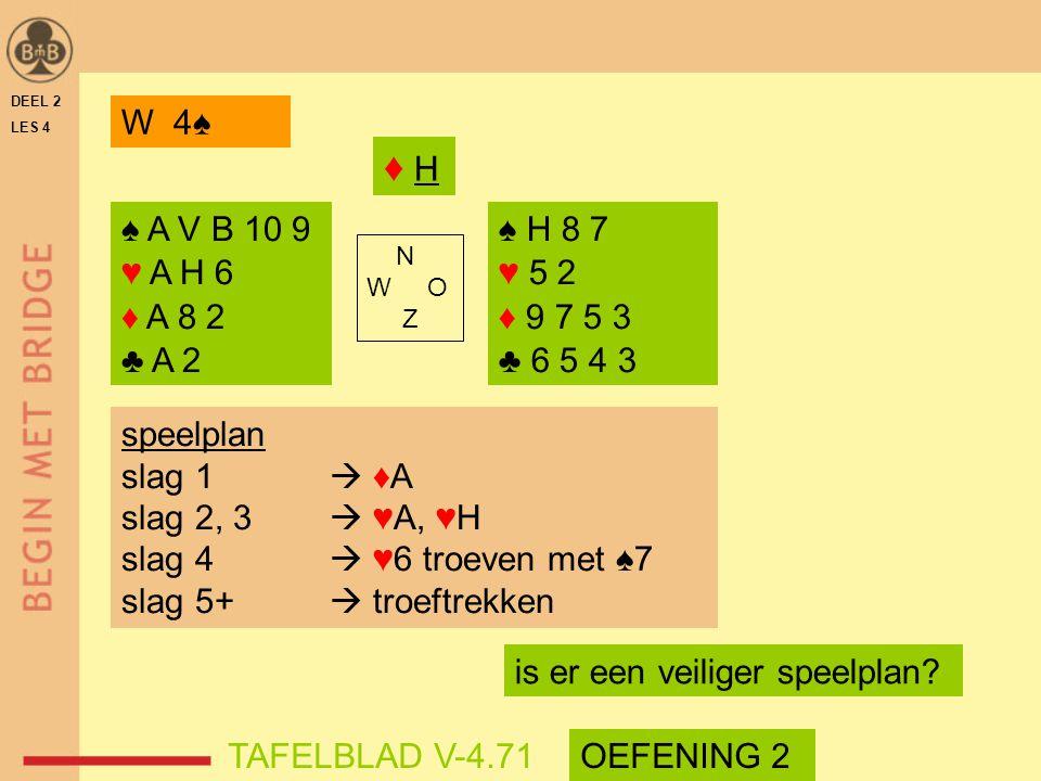 DEEL 2 LES 4. W 4♠ ♦ H. ♠ A V B 10 9. ♥ A H 6. ♦ A 8 2. ♣ A 2. ♠ H 8 7. ♥ 5 2. ♦ 9 7 5 3.