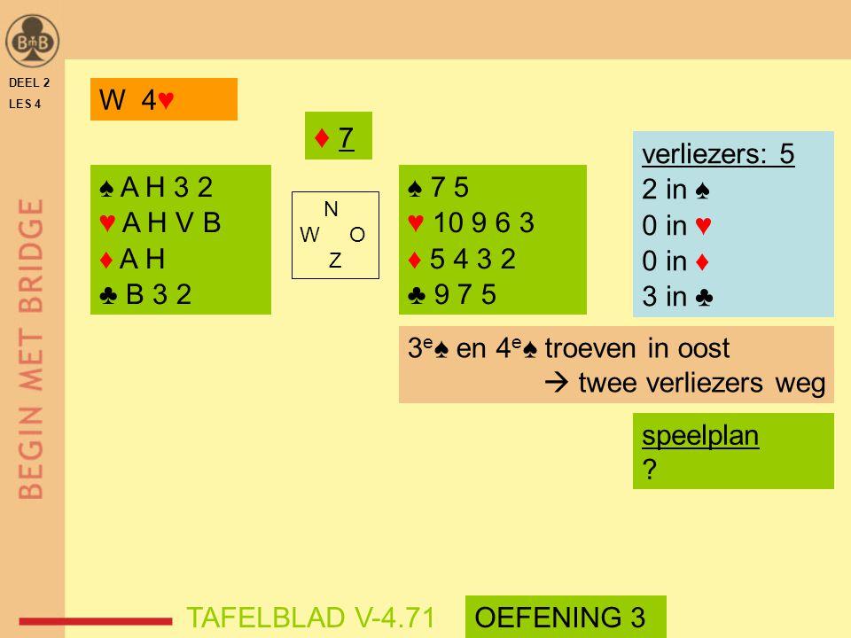 ♦ 7 W 4♥ verliezers: 5 2 in ♠ 0 in ♥ 0 in ♦ 3 in ♣ ♠ A H 3 2 ♥ A H V B