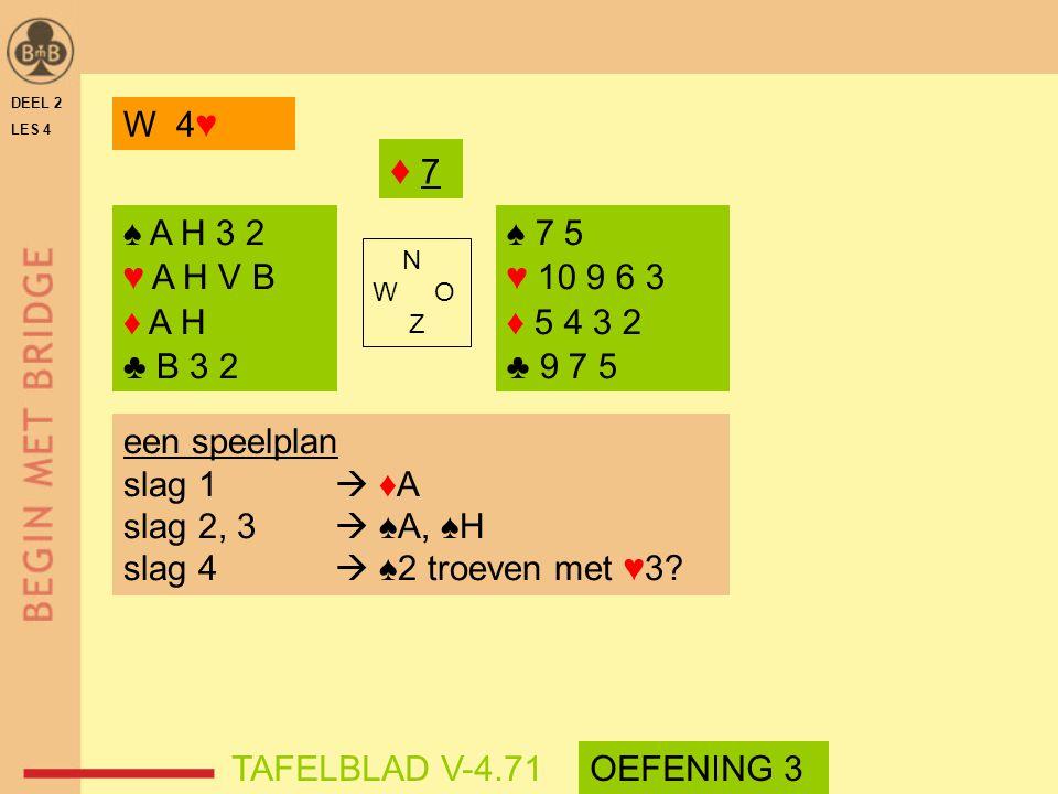 DEEL 2 LES 4. W 4♥ ♦ 7. ♠ A H 3 2. ♥ A H V B. ♦ A H. ♣ B 3 2. ♠ 7 5. ♥ 10 9 6 3. ♦ 5 4 3 2.