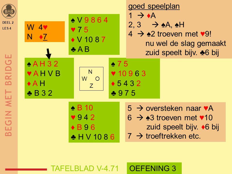 goed speelplan 1  ♦A 2, 3  ♠A, ♠H  ♠2 troeven met ♥9!