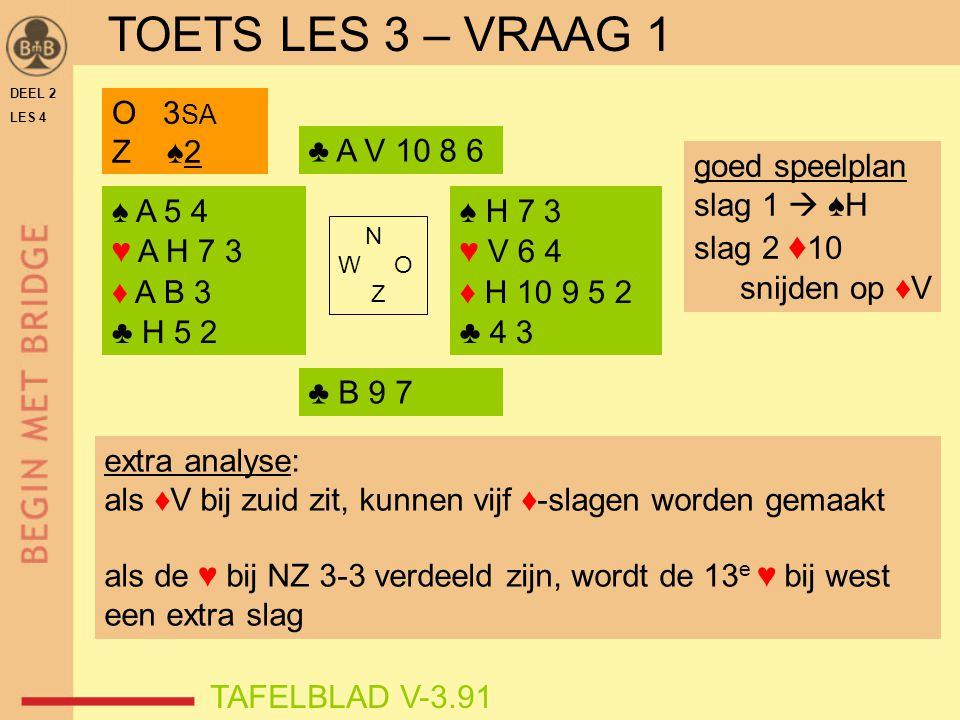 TOETS LES 3 – VRAAG 1 O 3SA Z ♠2 ♣ A V 10 8 6 goed speelplan