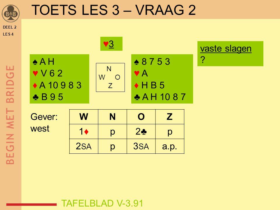 TOETS LES 3 – VRAAG 2 TOETS LES 3 – VRAAG 2 ♥3 vaste slagen ♠ A H