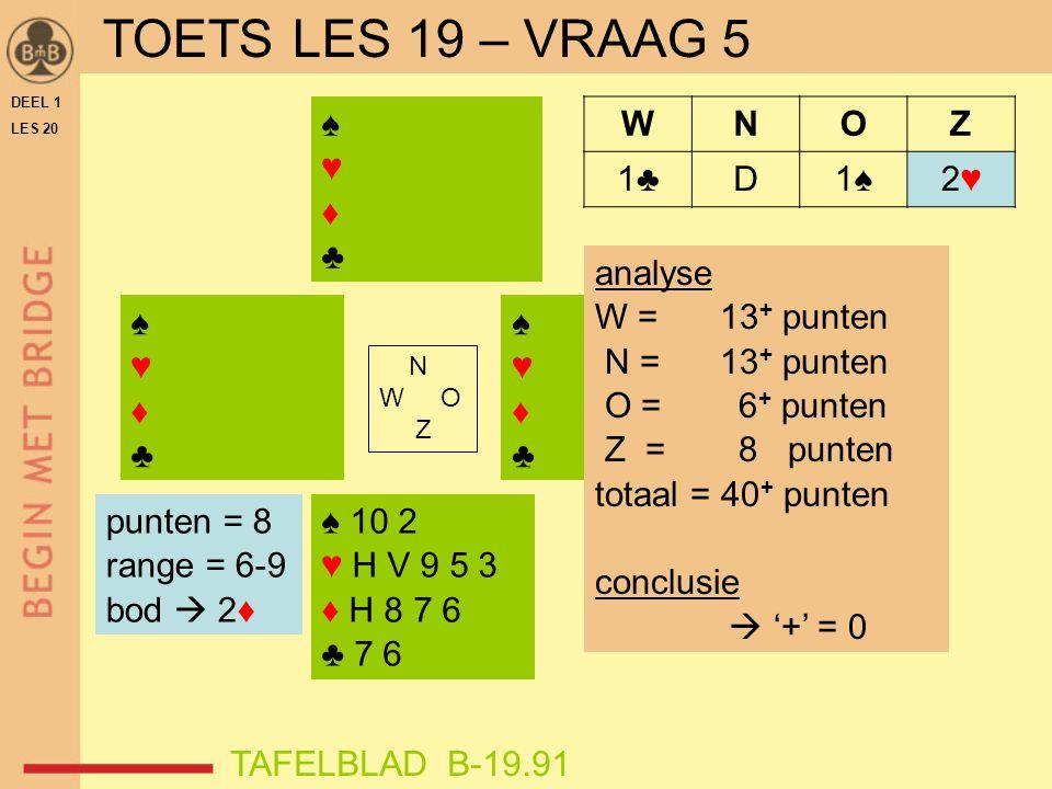 TOETS LES 19 – VRAAG 5 ♠ ♥ ♦ ♣ W N O Z 1♣ D 1♠ 2♥ analyse