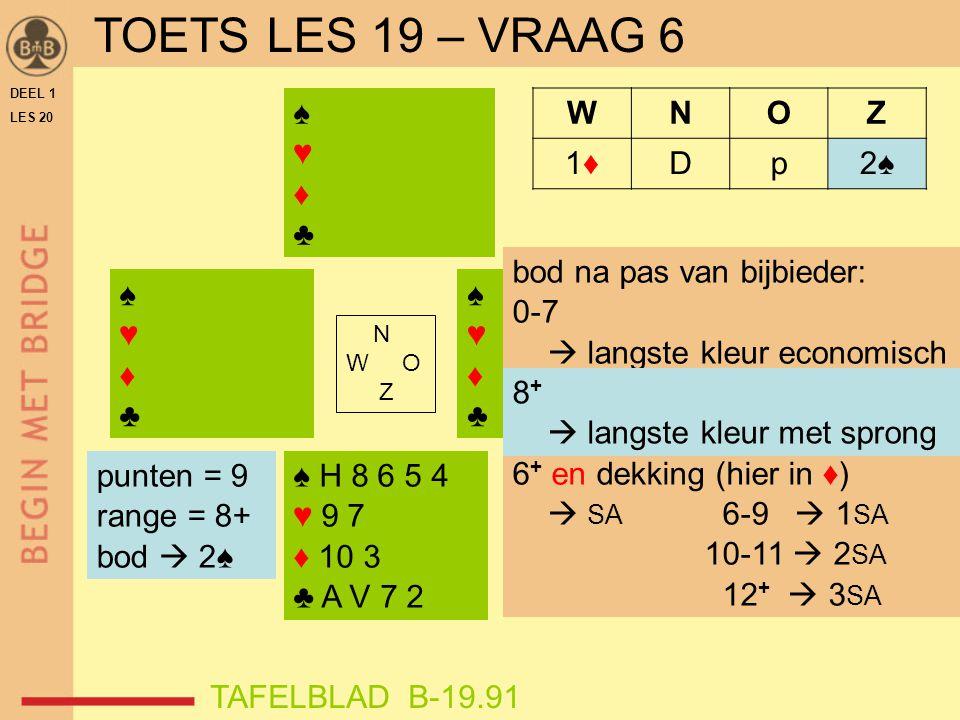 TOETS LES 19 – VRAAG 6 ♠ ♥ ♦ ♣ W N O Z 1♦ D p 2♠