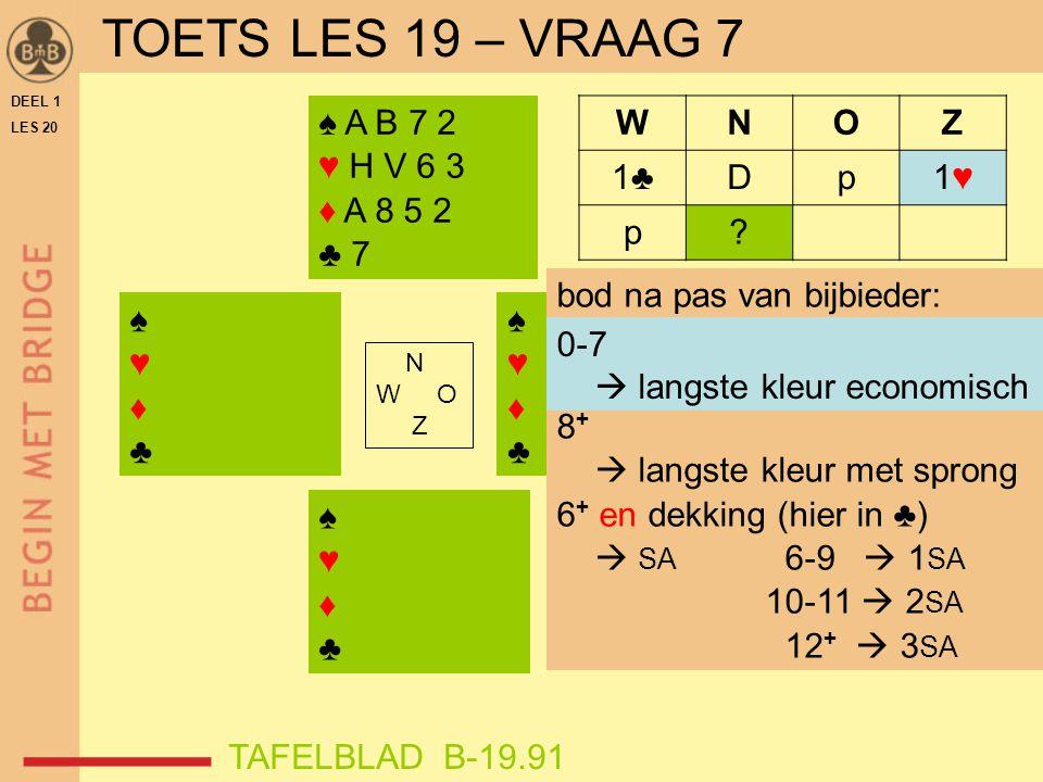 TOETS LES 19 – VRAAG 7 ♠ A B 7 2 ♥ H V 6 3 ♦ A 8 5 2 ♣ 7 W N O Z 1♣ D