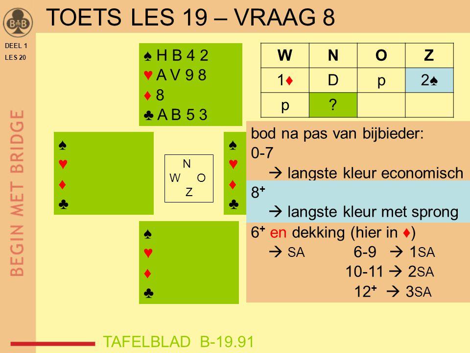 TOETS LES 19 – VRAAG 8 ♠ H B 4 2 ♥ A V 9 8 ♦ 8 ♣ A B 5 3 W N O Z 1♦ D