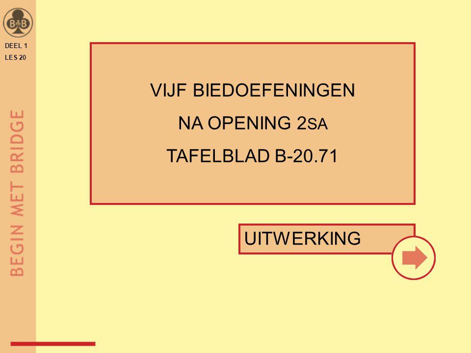 VIJF BIEDOEFENINGEN NA OPENING 2SA TAFELBLAD B-20.71 UITWERKING DEEL 1