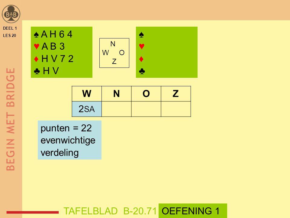 ♠ A H 6 4 ♥ A B 3 ♦ H V 7 2 ♣ H V ♠ ♥ ♦ ♣ W N O Z 2SA punten = 22