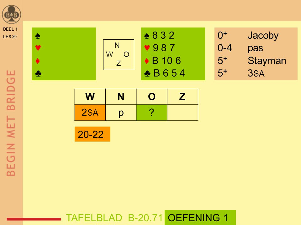 ♠ ♥ ♦ ♣ ♠ 8 3 2 ♥ 9 8 7 ♦ B 10 6 ♣ B 6 5 4 0+ Jacoby 0-4 pas
