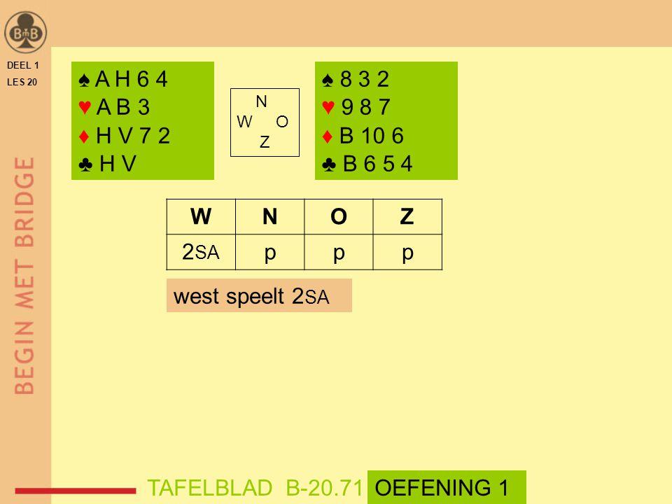 DEEL 1 LES 20. ♠ A H 6 4. ♥ A B 3. ♦ H V 7 2. ♣ H V. ♠ 8 3 2. ♥ 9 8 7. ♦ B 10 6. ♣ B 6 5 4.