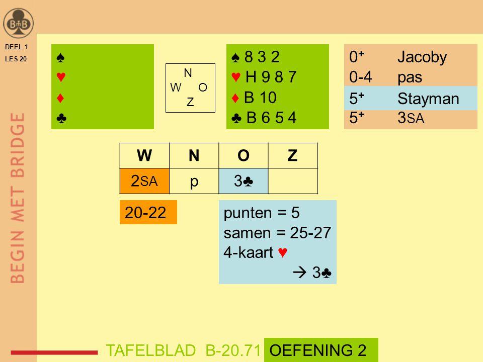 ♠ ♥ ♦ ♣ ♠ 8 3 2 ♥ H 9 8 7 ♦ B 10 ♣ B 6 5 4 0+ Jacoby 0-4 pas