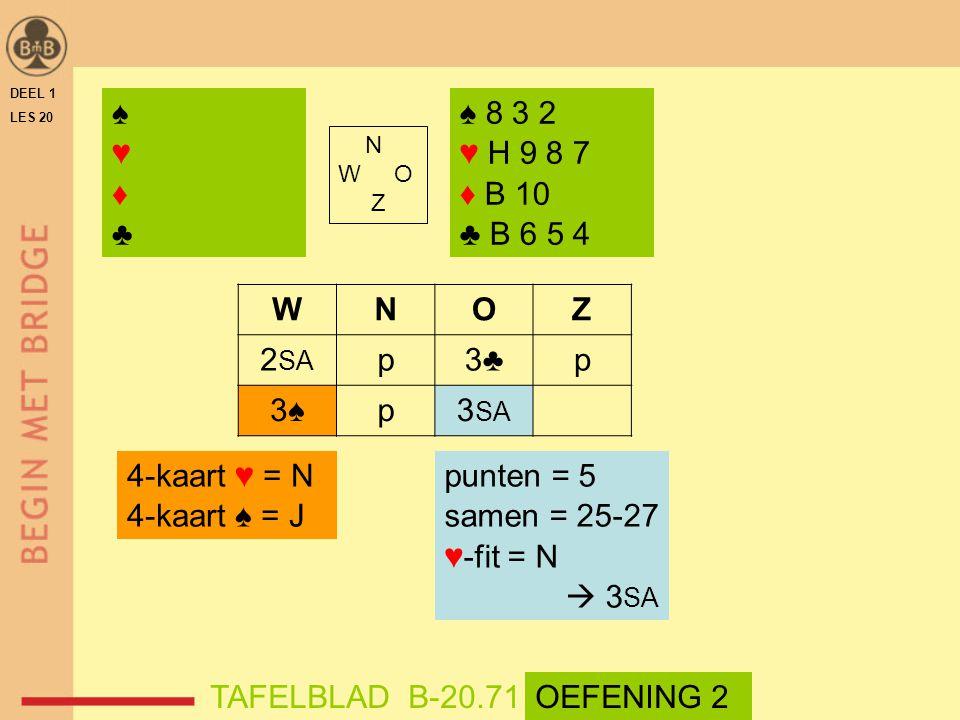 ♠ ♥ ♦ ♣ ♠ 8 3 2 ♥ H 9 8 7 ♦ B 10 ♣ B 6 5 4 W N O Z 2SA p 3♣ 3♠ 3SA