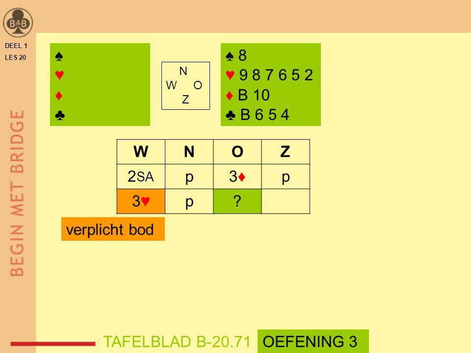 DEEL 1 LES 20. ♠ ♥ ♦ ♣ ♠ 8. ♥ 9 8 7 6 5 2. ♦ B 10. ♣ B 6 5 4. N. W O. Z. W. N. O.