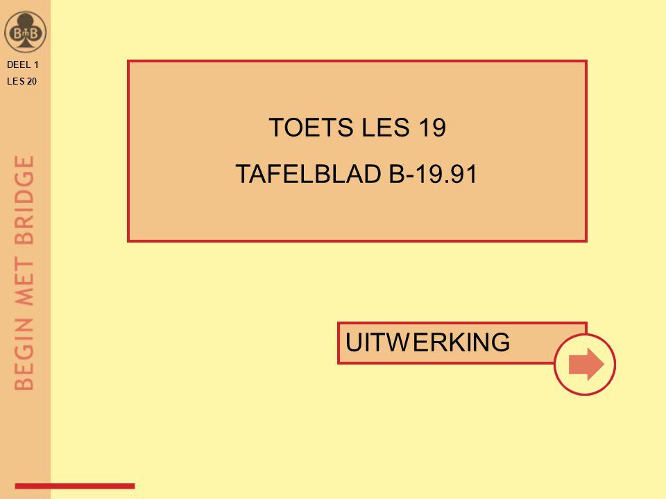 DEEL 1 LES 20 TOETS LES 19 TAFELBLAD B-19.91 UITWERKING
