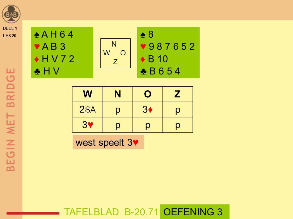 DEEL 1 LES 20. ♠ A H 6 4. ♥ A B 3. ♦ H V 7 2. ♣ H V. ♠ 8. ♥ 9 8 7 6 5 2. ♦ B 10. ♣ B 6 5 4.