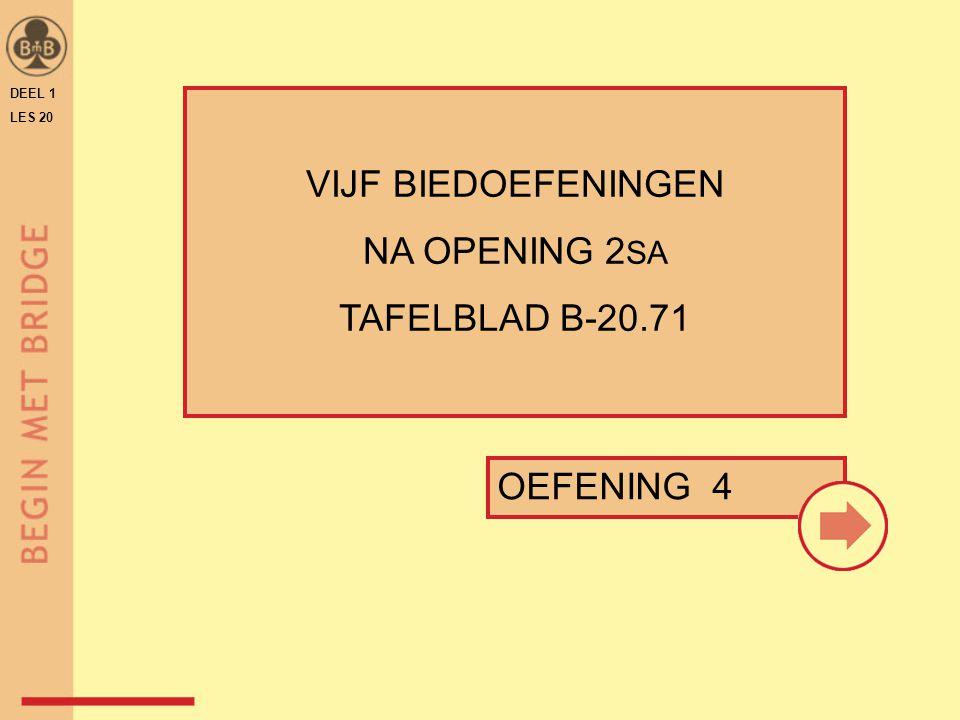VIJF BIEDOEFENINGEN NA OPENING 2SA TAFELBLAD B-20.71 OEFENING 4 DEEL 1