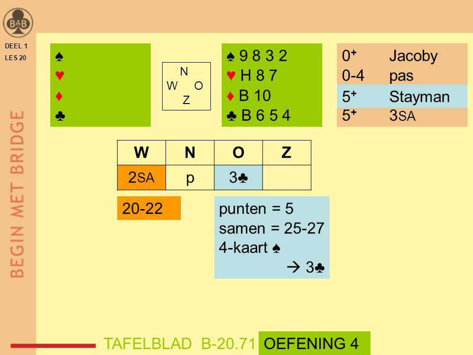 ♠ ♥ ♦ ♣ ♠ 9 8 3 2 ♥ H 8 7 ♦ B 10 ♣ B 6 5 4 0+ Jacoby 0-4 pas
