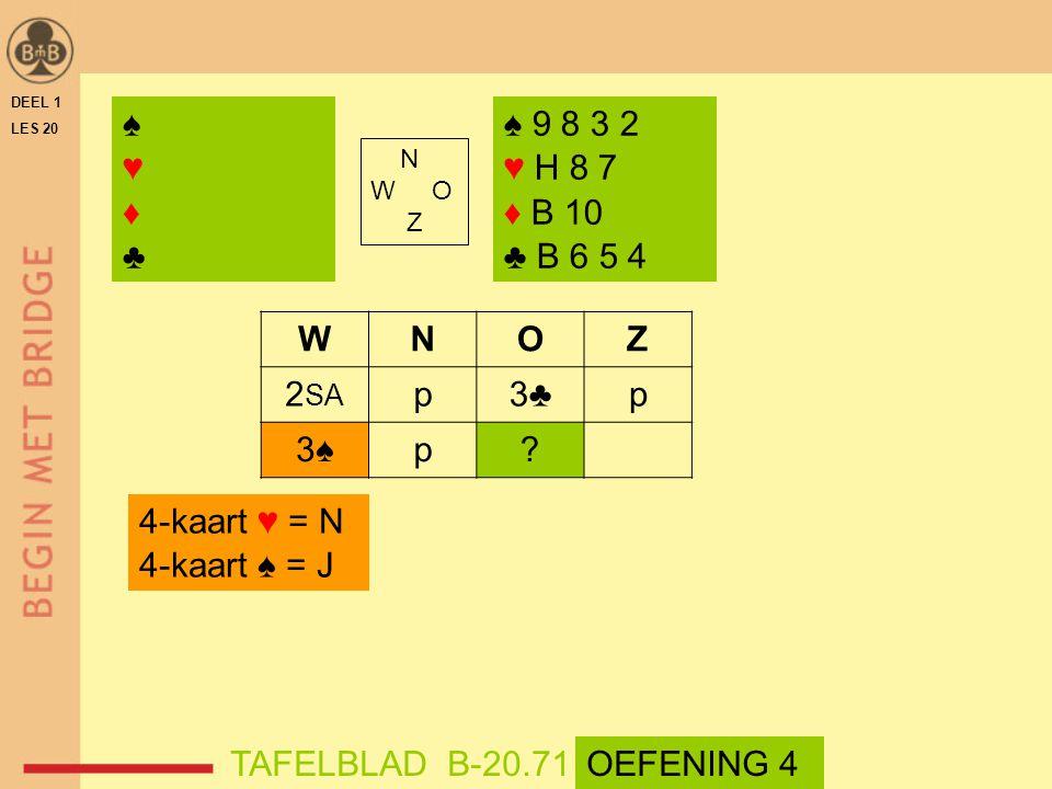 ♠ ♥ ♦ ♣ ♠ 9 8 3 2 ♥ H 8 7 ♦ B 10 ♣ B 6 5 4 W N O Z 2SA p 3♣ 3♠