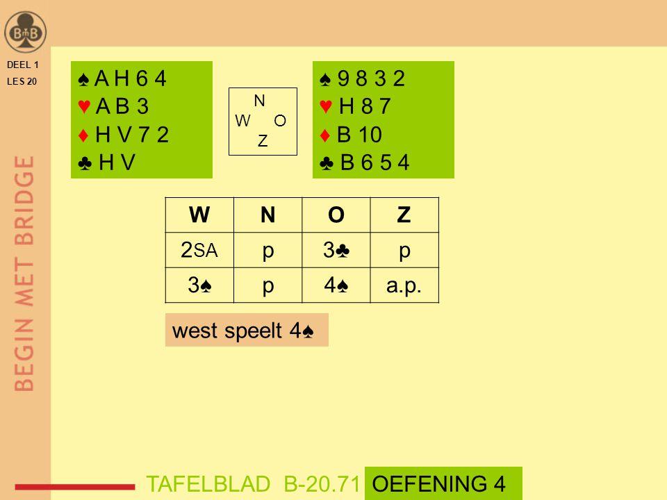 ♠ A H 6 4 ♥ A B 3 ♦ H V 7 2 ♣ H V ♠ 9 8 3 2 ♥ H 8 7 ♦ B 10 ♣ B 6 5 4 W