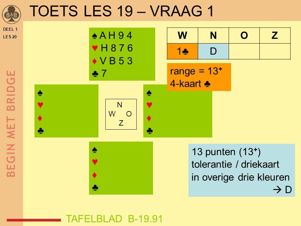 TOETS LES 19 – VRAAG 1 ♠ A H 9 4 ♥ H 8 7 6 ♦ V B 5 3 ♣ 7 W N O Z 1♣ D