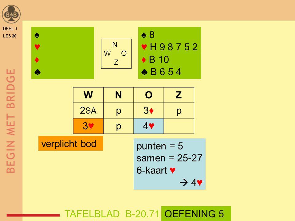 ♠ ♥ ♦ ♣ ♠ 8 ♥ H 9 8 7 5 2 ♦ B 10 ♣ B 6 5 4 W N O Z 2SA p 3♦ 3♥ 4♥
