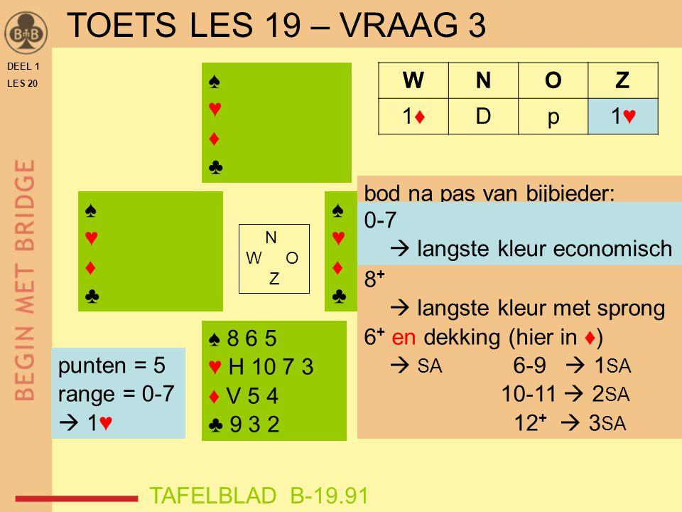 TOETS LES 19 – VRAAG 3 ♠ ♥ ♦ ♣ W N O Z 1♦ D p 1♥