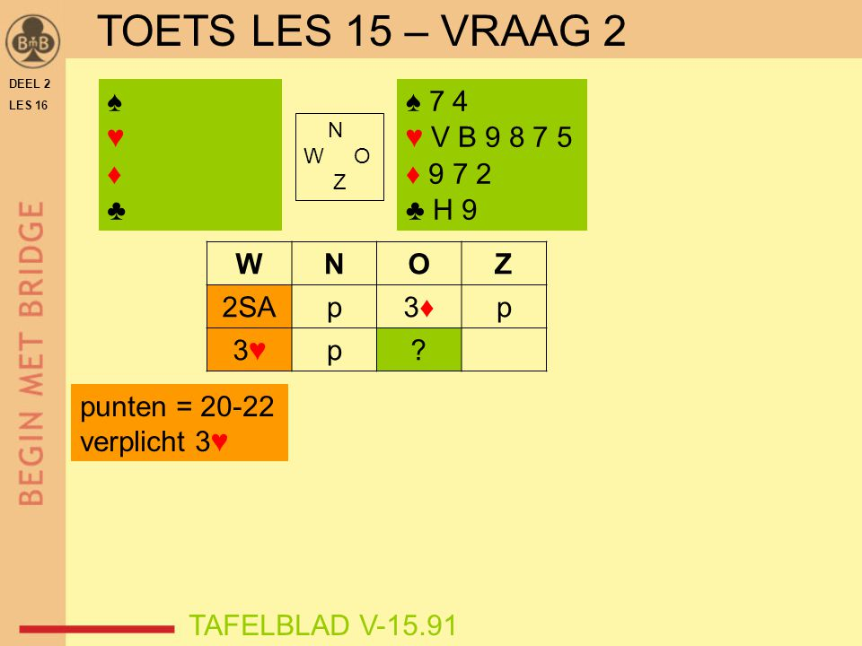 TOETS LES 15 – VRAAG 2 ♠ ♥ ♦ ♣ ♠ 7 4 ♥ V B 9 8 7 5 ♦ 9 7 2 ♣ H 9 W N O