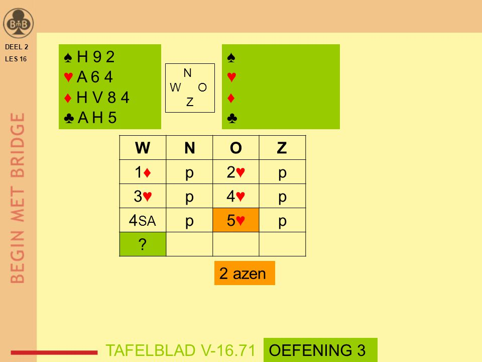 ♠ H 9 2 ♥ A 6 4 ♦ H V 8 4 ♣ A H 5 ♠ ♥ ♦ ♣ W N O Z 1♦ p 2♥ 3♥ 4♥ 4SA 5♥