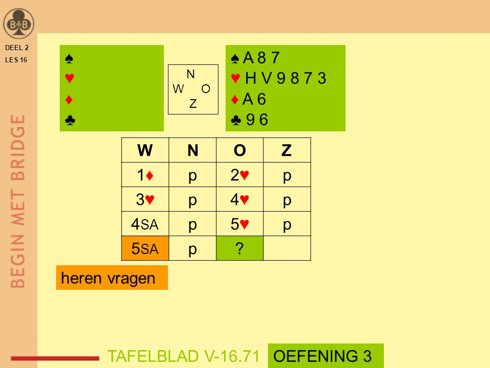 ♠ ♥ ♦ ♣ ♠ A 8 7 ♥ H V 9 8 7 3 ♦ A 6 ♣ 9 6 W N O Z 1♦ p 2♥ 3♥ 4♥ 4SA 5♥