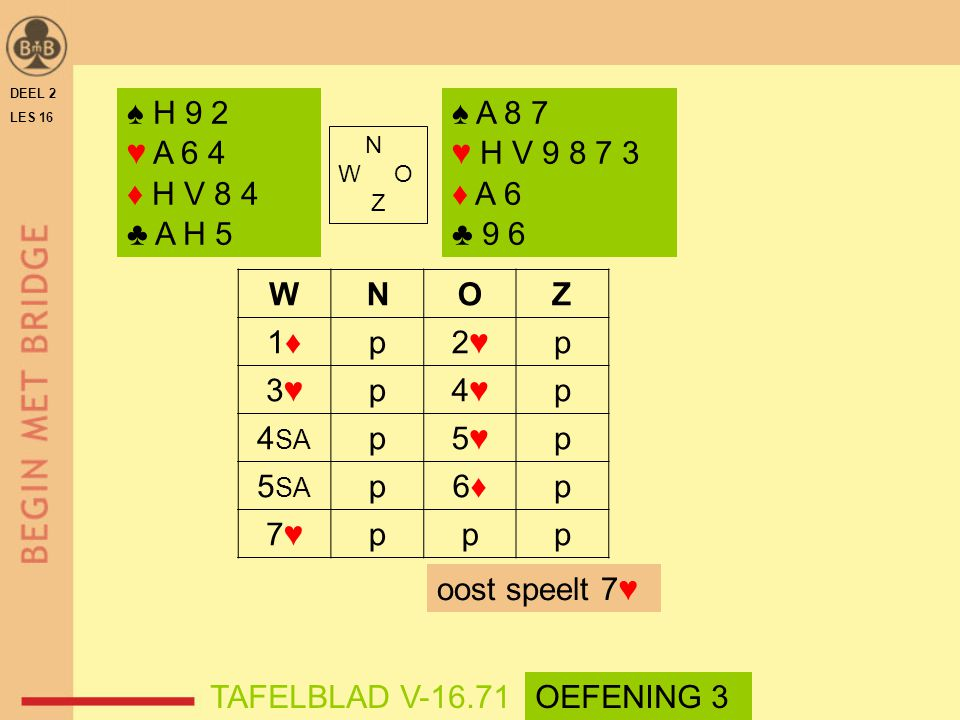 DEEL 2 LES 16. ♠ H 9 2. ♥ A 6 4. ♦ H V 8 4. ♣ A H 5. ♠ A 8 7. ♥ H V 9 8 7 3. ♦ A 6. ♣ 9 6. N.