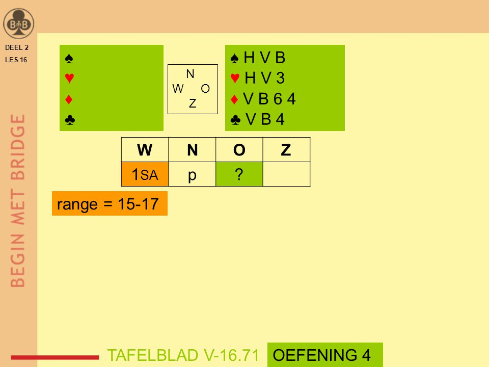 ♠ ♥ ♦ ♣ ♠ H V B ♥ H V 3 ♦ V B 6 4 ♣ V B 4 W N O Z 1SA p