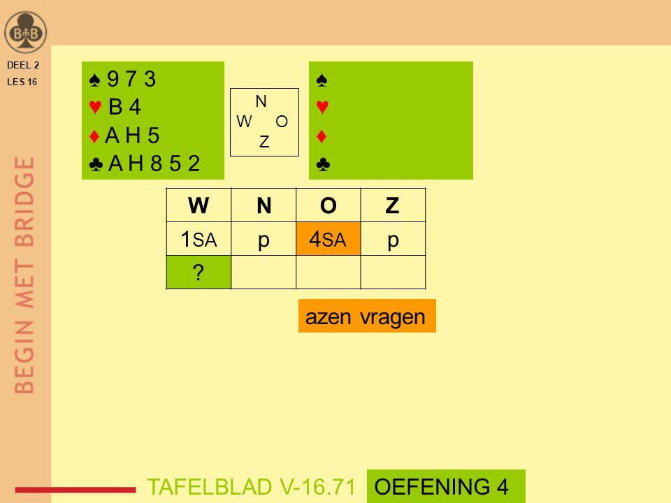 ♠ 9 7 3 ♥ B 4 ♦ A H 5 ♣ A H 8 5 2 ♠ ♥ ♦ ♣ W N O Z 1SA p 4SA