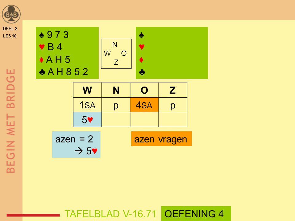 ♠ 9 7 3 ♥ B 4 ♦ A H 5 ♣ A H 8 5 2 ♠ ♥ ♦ ♣ W N O Z 1SA p 4SA 5♥