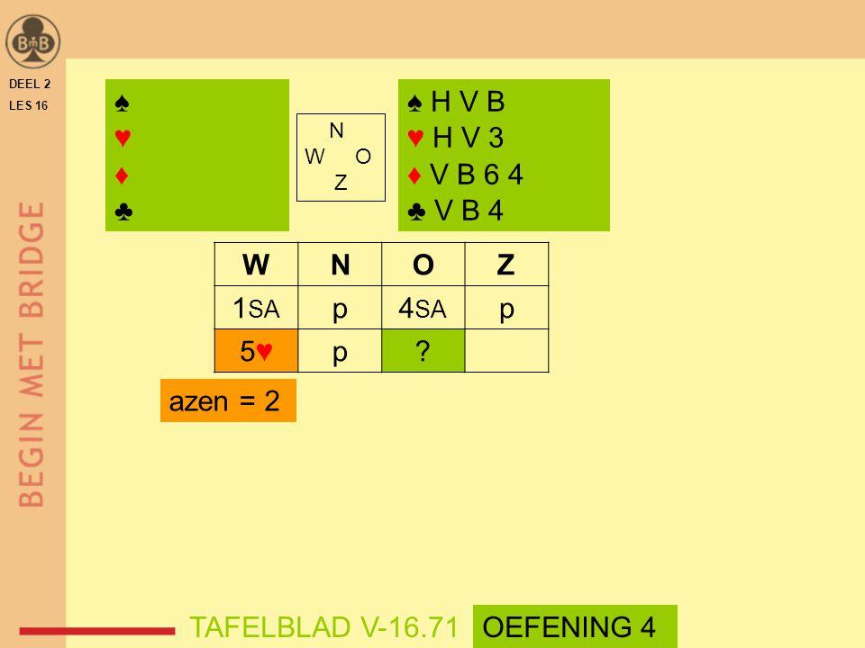 ♠ ♥ ♦ ♣ ♠ H V B ♥ H V 3 ♦ V B 6 4 ♣ V B 4 W N O Z 1SA p 4SA 5♥