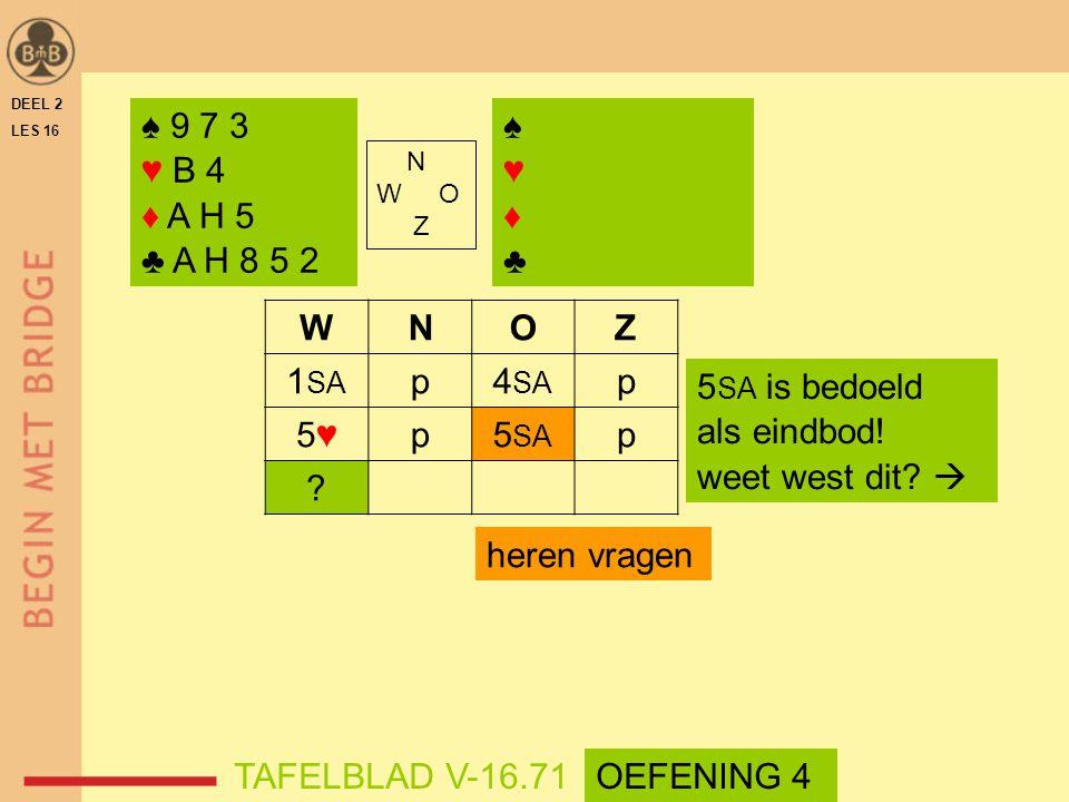 ♠ 9 7 3 ♥ B 4 ♦ A H 5 ♣ A H 8 5 2 ♠ ♥ ♦ ♣ W N O Z 1SA p 4SA 5♥ 5SA