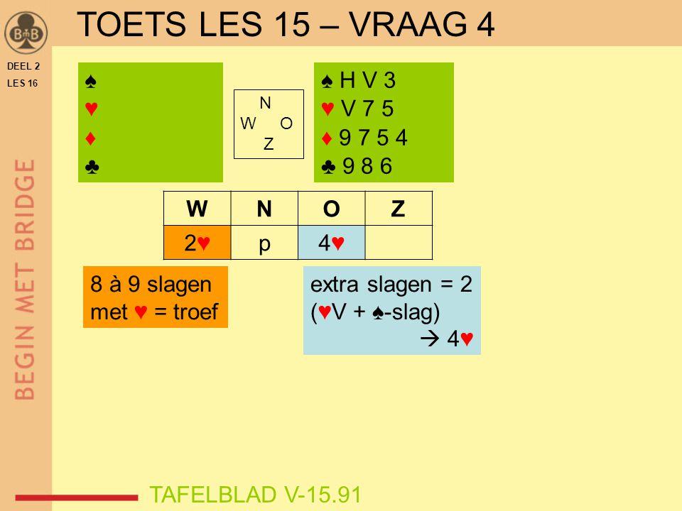 TOETS LES 15 – VRAAG 4 ♠ ♥ ♦ ♣ ♠ H V 3 ♥ V 7 5 ♦ 9 7 5 4 ♣ 9 8 6 W N O