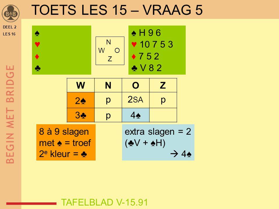 TOETS LES 15 – VRAAG 5 ♠ ♥ ♦ ♣ ♠ H 9 6 ♥ 10 7 5 3 ♦ 7 5 2 ♣ V 8 2 W N