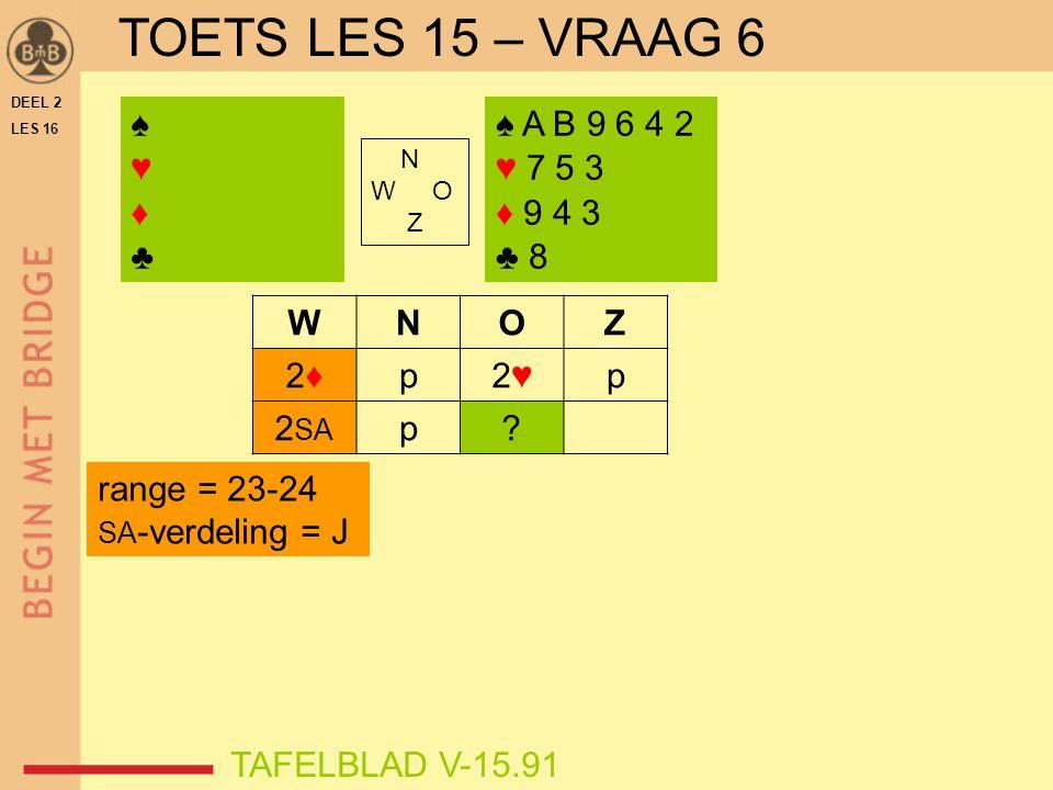 TOETS LES 15 – VRAAG 6 ♠ ♥ ♦ ♣ ♠ A B 9 6 4 2 ♥ 7 5 3 ♦ 9 4 3 ♣ 8 W N O