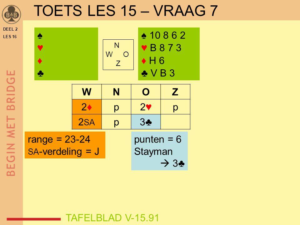 TOETS LES 15 – VRAAG 7 ♠ ♥ ♦ ♣ ♠ 10 8 6 2 ♥ B 8 7 3 ♦ H 6 ♣ V B 3 W N