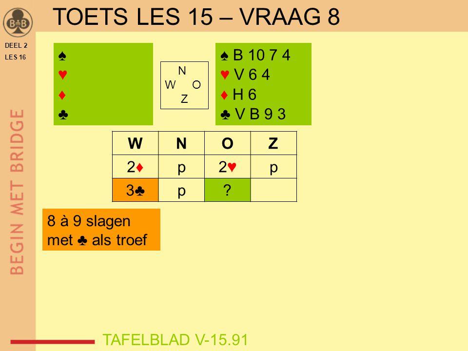 TOETS LES 15 – VRAAG 8 ♠ ♥ ♦ ♣ ♠ B 10 7 4 ♥ V 6 4 ♦ H 6 ♣ V B 9 3 W N