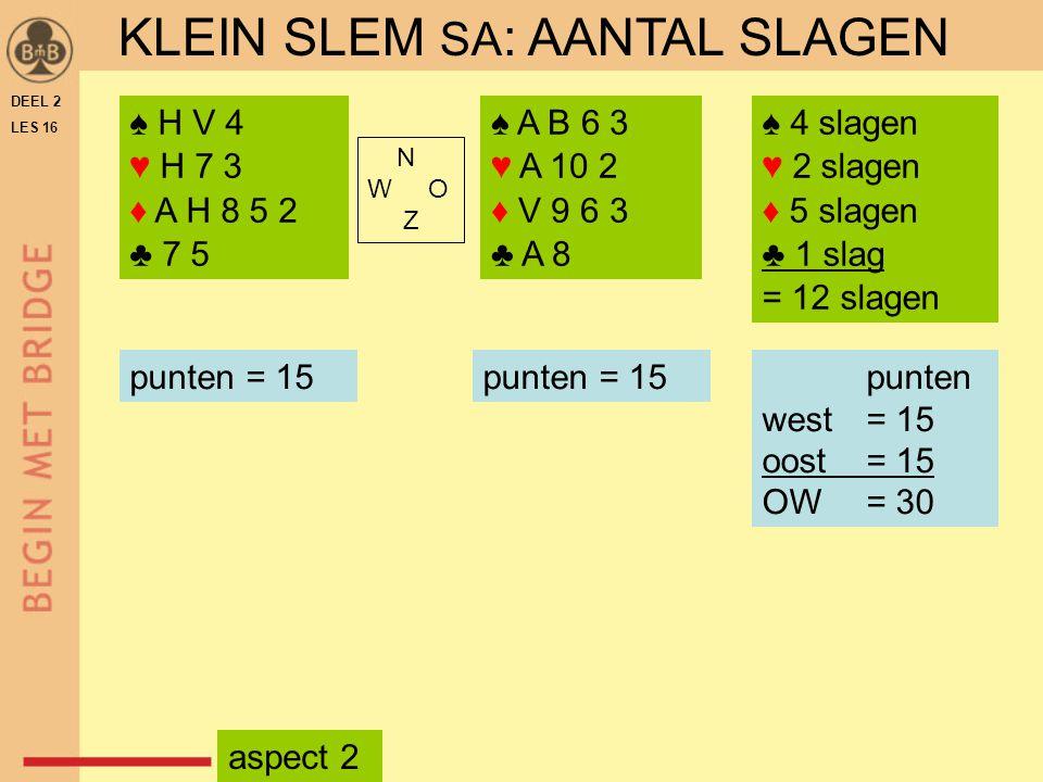 KLEIN SLEM SA: AANTAL SLAGEN