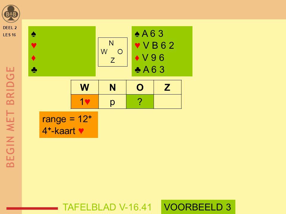♠ ♥ ♦ ♣ ♠ A 6 3 ♥ V B 6 2 ♦ V 9 6 ♣ A 6 3 W N O Z 1♥ p range = 12+