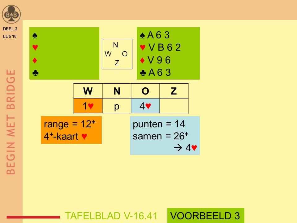 ♠ ♥ ♦ ♣ ♠ A 6 3 ♥ V B 6 2 ♦ V 9 6 ♣ A 6 3 W N O Z 1♥ p 4♥ range = 12+