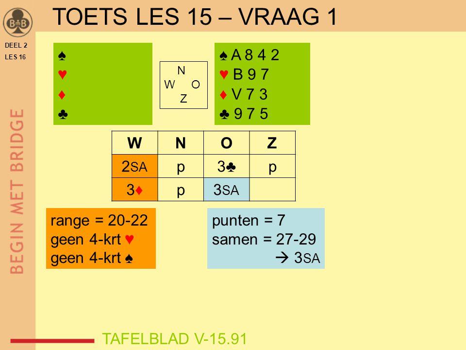 TOETS LES 15 – VRAAG 1 ♠ ♥ ♦ ♣ ♠ A 8 4 2 ♥ B 9 7 ♦ V 7 3 ♣ 9 7 5 W N O