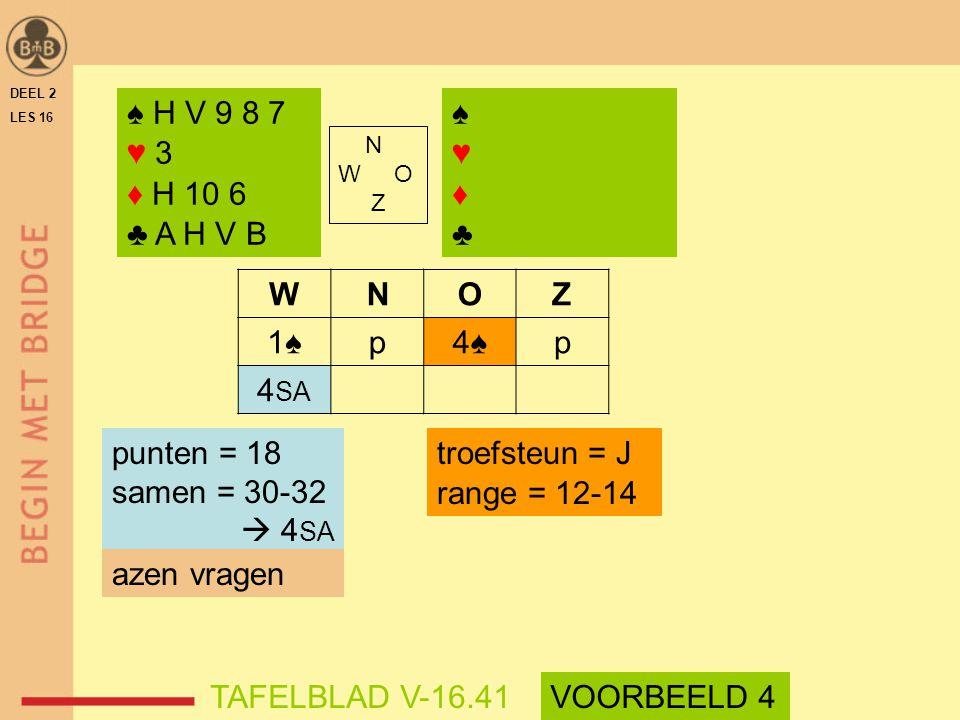 ♠ H V 9 8 7 ♥ 3 ♦ H 10 6 ♣ A H V B ♠ ♥ ♦ ♣ W N O Z 1♠ p 4♠ 4SA