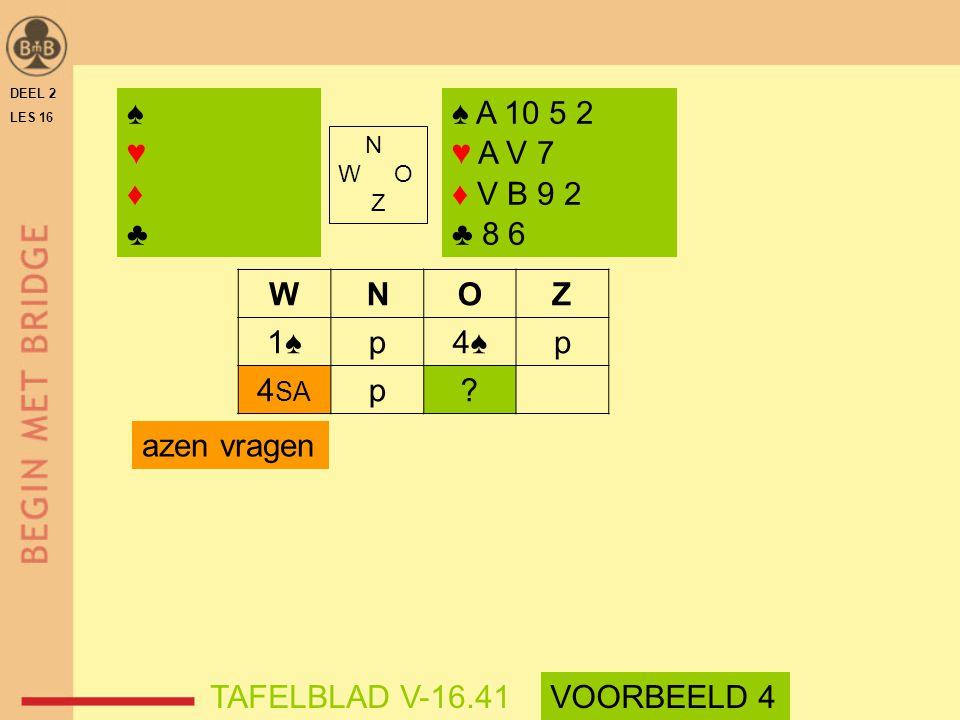 ♠ ♥ ♦ ♣ ♠ A 10 5 2 ♥ A V 7 ♦ V B 9 2 ♣ 8 6 W N O Z 1♠ p 4♠ 4SA