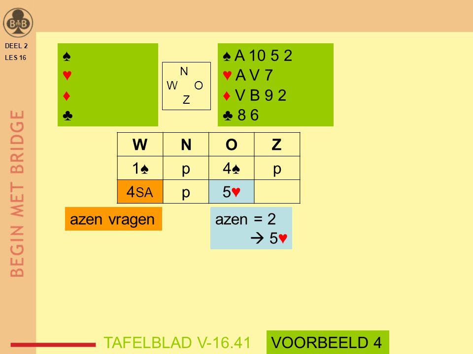 ♠ ♥ ♦ ♣ ♠ A 10 5 2 ♥ A V 7 ♦ V B 9 2 ♣ 8 6 W N O Z 1♠ p 4♠ 4SA 5♥