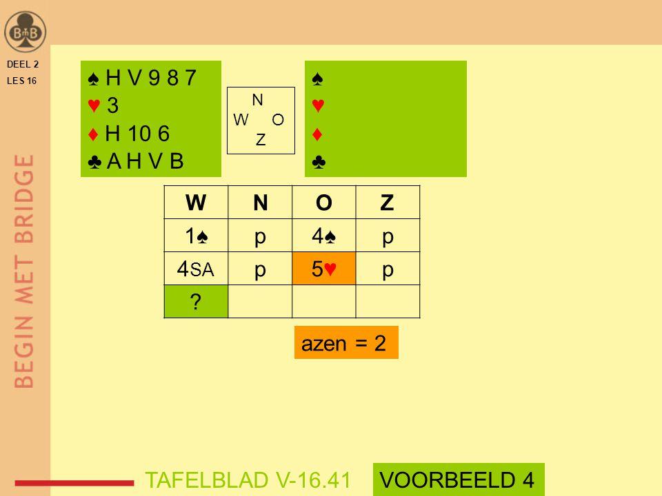 ♠ H V 9 8 7 ♥ 3 ♦ H 10 6 ♣ A H V B ♠ ♥ ♦ ♣ W N O Z 1♠ p 4♠ 4SA 5♥