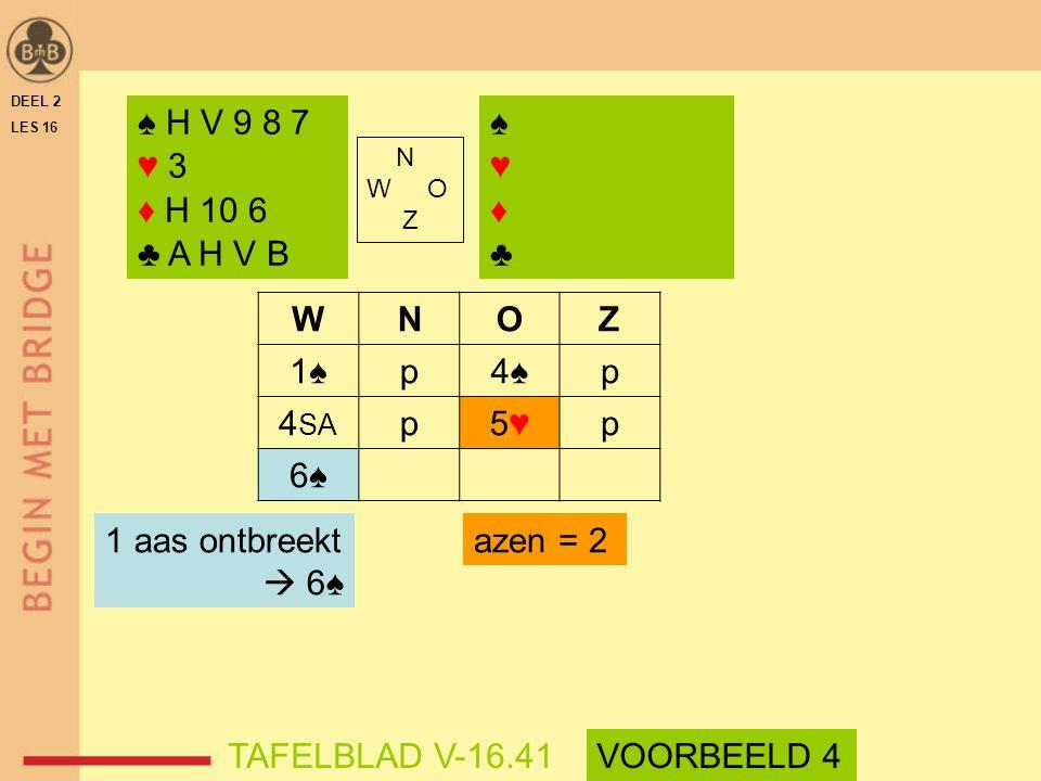 ♠ H V 9 8 7 ♥ 3 ♦ H 10 6 ♣ A H V B ♠ ♥ ♦ ♣ W N O Z 1♠ p 4♠ 4SA 5♥ 6♠